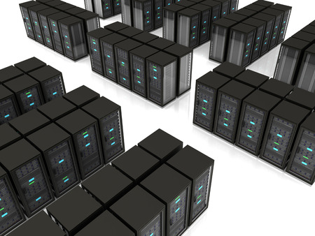 server room: black server racks stand in rows on the floor Stock Photo