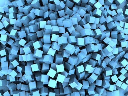 disarray: abstract 3d illustration of blue cubes chaos background
