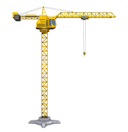 construction crane: 3d illustration of crane tower isolated over white