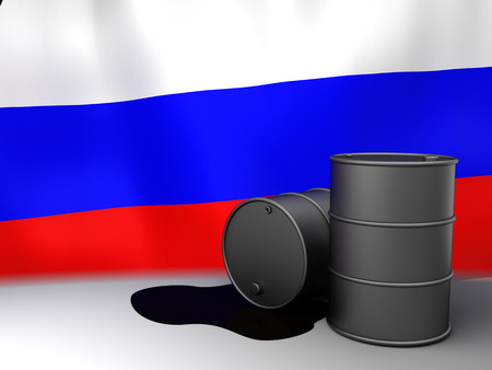 exporter: 3d illustration of oil barrels and Russia flag