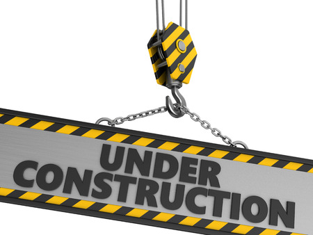 relocate: 3d illustration of under construction sign and crane hook, over white