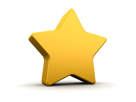rounded: abstract 3d illustration of yellow star with rounded corners