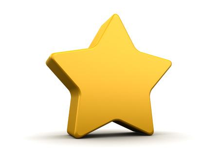 estrellas cinco puntas: Ilustración 3d abstracto de estrella amarilla con esquinas redondeadas Foto de archivo