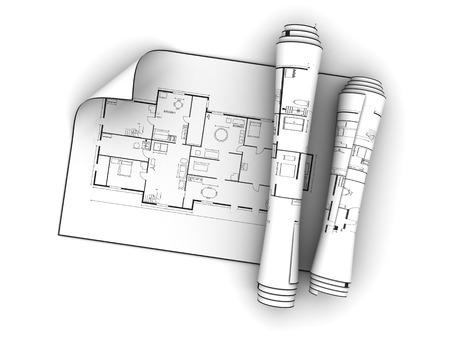3d illustration of blueprints over white background Imagens