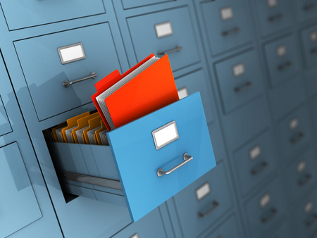 3d illustration of archive with red folder