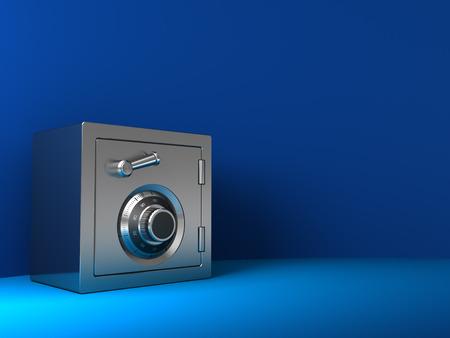 caja fuerte: 3d ilustración de la caja fuerte de acero sobre fondo azul