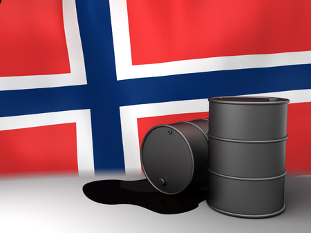 exporter: 3d illustration of oil barrels and Norway flag