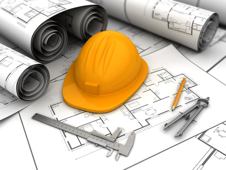 urban planning: 3d illustration of blueprints, drawing tools and helmet Stock Photo