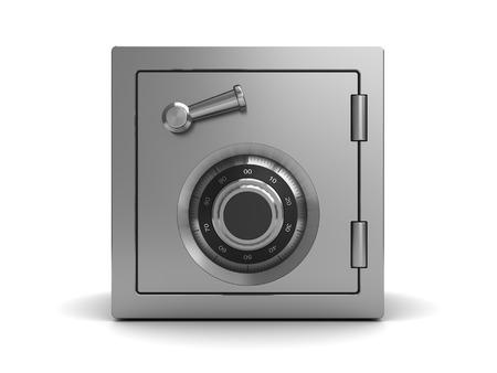3d illustration of steel safe, front view