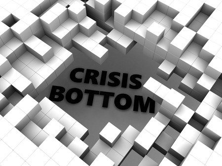 bottom: abstract 3d illustration of cubes and text crisis bottom Stock Photo