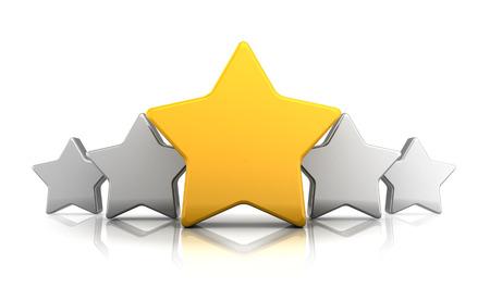 estrellas cinco puntas: Ilustración 3d abstracto de símbolo de estrellas de calificación, sobre el fondo blanco