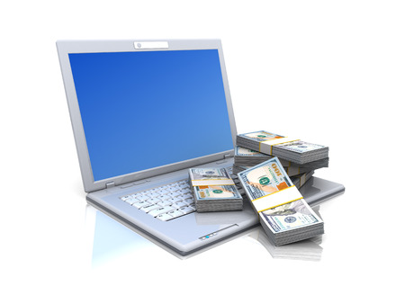 us paper currency: 3d illustration of laptop computer with money stack, over white background Stock Photo
