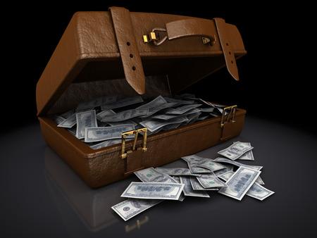 dollar bills: 3d illustration pile of hundred dollar bills in a brown suitcase Stock Photo