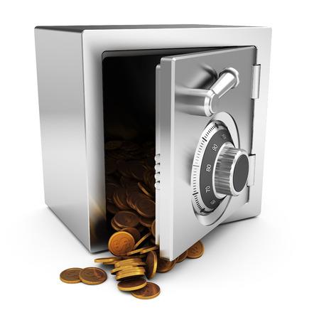safety deposit box: 3d illustration of steel  safe full of golden coins Stock Photo