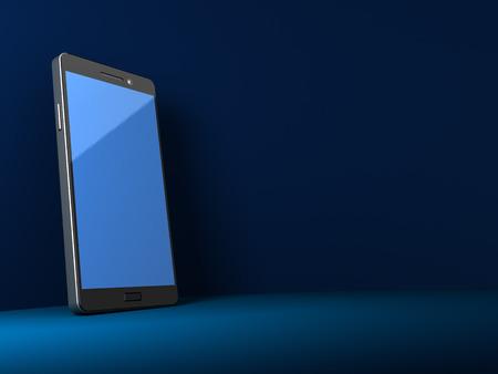3d illustration of generic smartphone over dar blue background illustration