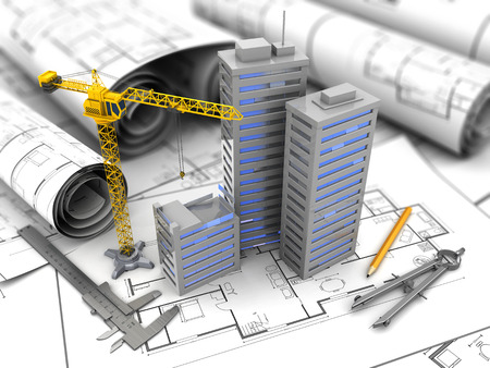 3d illustration of city construction and planning concept