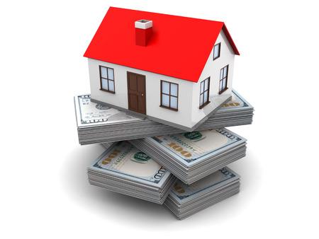 3d illustration of money for home concept