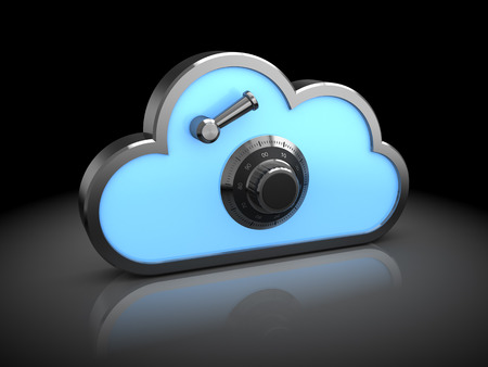 dial lock: 3d illustration of cloud icon with combination lock dial, protected storage concept