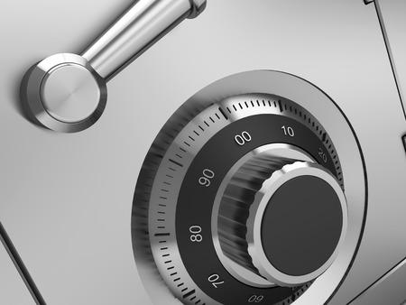 safe: 3d illustration of steel safe lock closeup Stock Photo