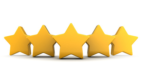 five stars: abstract 3d illustration of five stars over white background Stock Photo