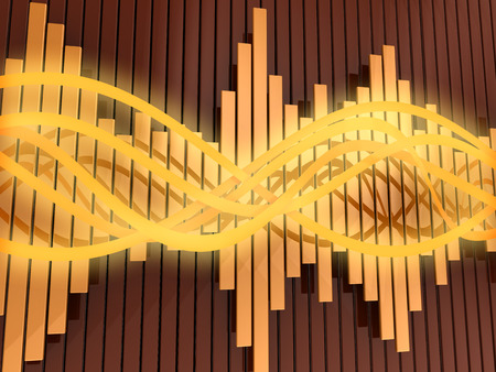audiowave: abstract 3d illustration of orange colors background with audio waves and spectrum