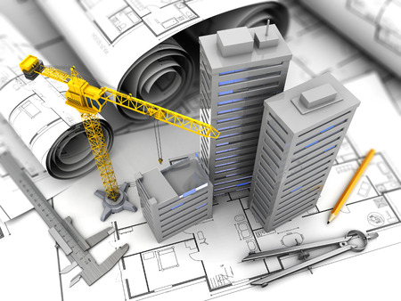 urban planning: 3d illustration of crane, blueprints and drawing tools, city construction concept