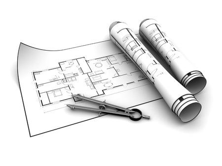 house blueprints: 3d illustration of house blueprints over white background