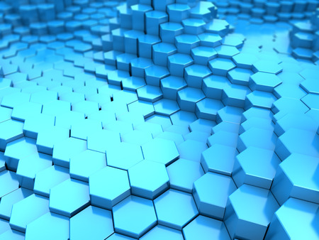 hexagon background: abstract 3d illustration of hexagon background, blue colors Stock Photo