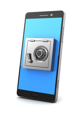 locked: 3d illustration of mobile phone safe locked