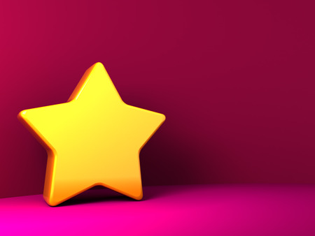 five star: abstract 3d illustration of background with yellow star and copy space