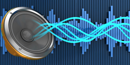 audiowave: abstract 3d illustration of audio waves and speaker Stock Photo