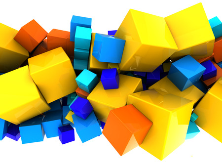 ornage: abstract 3d illustration of colorful cubes background