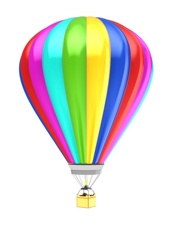 blimp: 3d illustration of colorful hot air balloon isolated over white Stock Photo