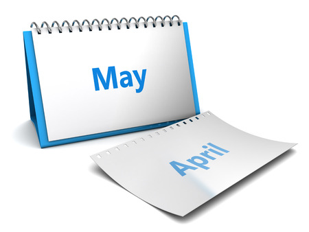 3D-afbeelding van het vouwen kalender met mei maand pagina