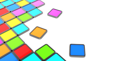 abstract 3d illustration of background with colorful tiles and space for text illustration