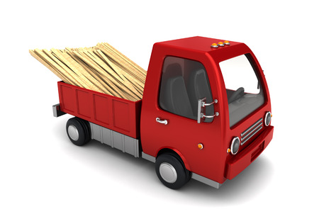 lumber industry: 3d illustration of small truck with planks, over white background