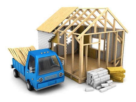 lumber industry: 3d illustration of frame house construction and small truck