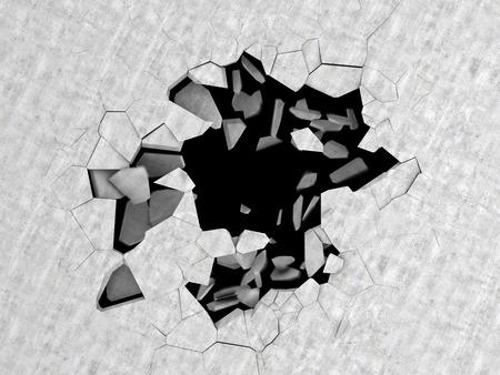 suelos: Ilustración 3d abstracto de agujero agrietado en suelo de hormigón