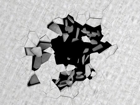 abstract 3d illustration of cracked hole in concrete floor