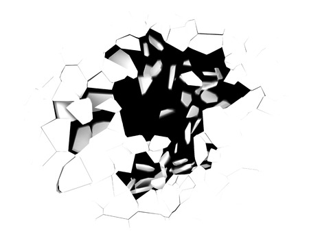 pit fall: 3d illustration of cracked hole in white background