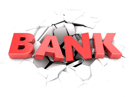 regress: 3d illustration of text bank in hole over white background Stock Photo