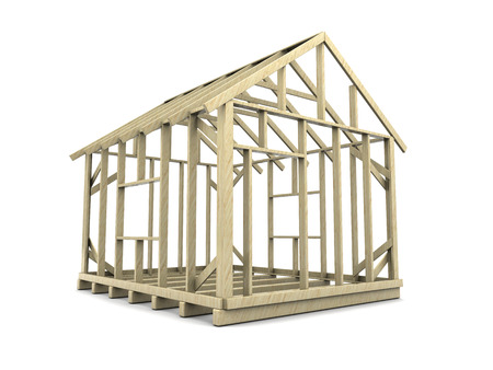 prefabricated: 3d illustration of house frame over white background