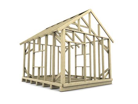 3d illustration of house frame over white background