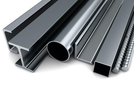 3d illustratie van metaal assortiment, over witte achtergrond Stockfoto