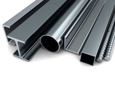 3d illustration of rolled metal assortment, over white background