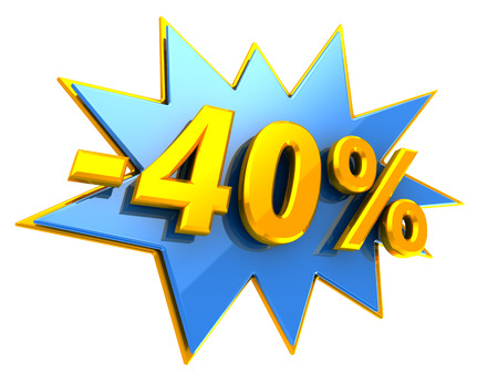 40: 3d illustration of 40 percent discount sign Stock Photo