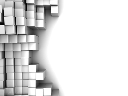 abstract 3d illustration of white blocks background with space for text illustration