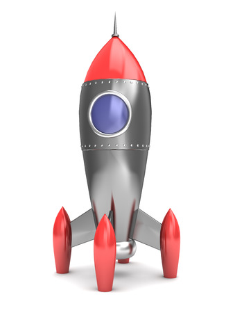 3d illustration of cartoon style space rocket illustration