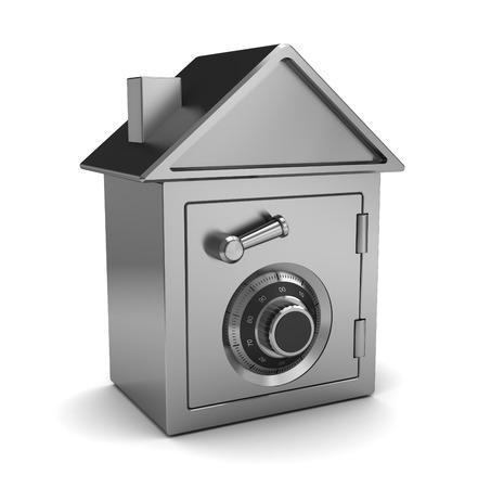 safe house: 3d illustration of safe house concept, over white background Stock Photo