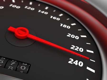 speed: 3d illustration of speedometer with danger speed closeup